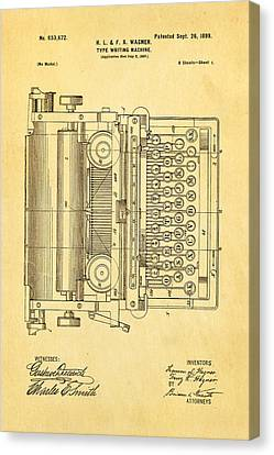 Wagner Type Writing Machine Patent Art 1899 Canvas Print
