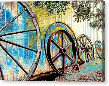 Canvas Print featuring the photograph Wagon Wheel Art by Beverly Parks
