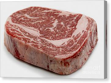 Wagyu Ribeye Steak Raw Canvas Print by Paul Cowan