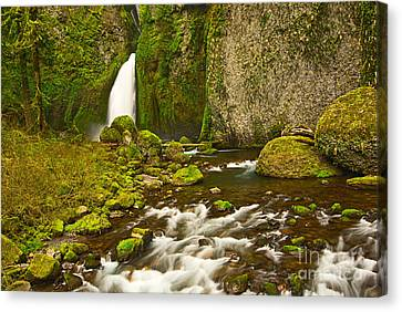 Green Lichen Canvas Print - Wahclella Falls In The Columbia River Gorge In Oregon. by Jamie Pham