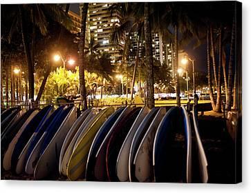 Waikiki Beach By Night Canvas Print