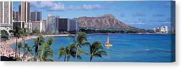 Waikiki Beach, Honolulu, Hawaii, Usa Canvas Print by Panoramic Images