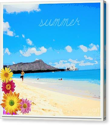Canvas Print featuring the photograph Waikiki Beach by Mindy Bench