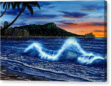 Waikiki Beach Sunset Canvas Print by John YATO