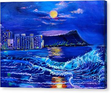 Waikiki Lights Canvas Print by Jenny Lee
