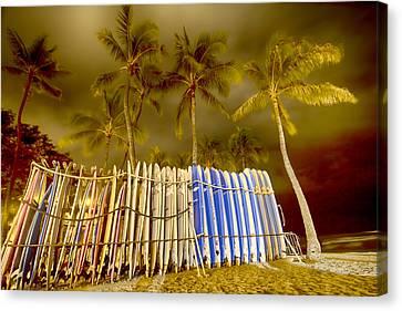 Waikiki Surf Canvas Print by Douglas Barnard