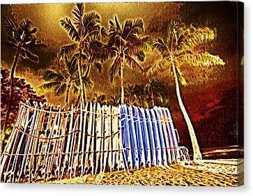 Waikiki Surf- Hawaii Canvas Print by Douglas Barnard