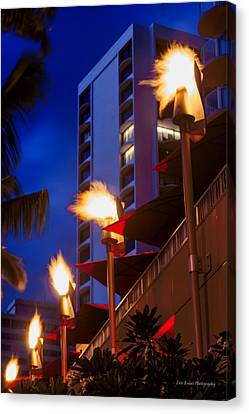 Canvas Print featuring the photograph Waikiki Tiki Torches by Aloha Art