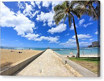 Waikiki Wall Canvas Print by DJ Florek