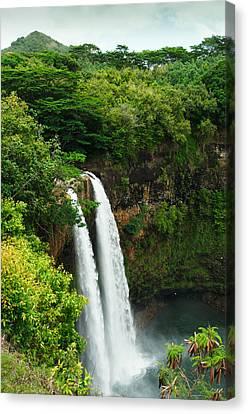 Canvas Print featuring the photograph Wailua Falls Kauai by Photography  By Sai