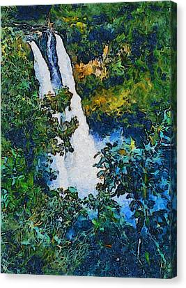 Wailua Falls Through The Eyes Of Vincent Van Gogh Canvas Print by Barbara Snyder