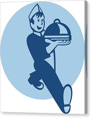 Waiter Cook Chef Baker Serving Food Canvas Print by Aloysius Patrimonio