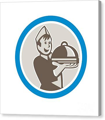 Waiter Serving Food On Platter Retro Canvas Print by Aloysius Patrimonio