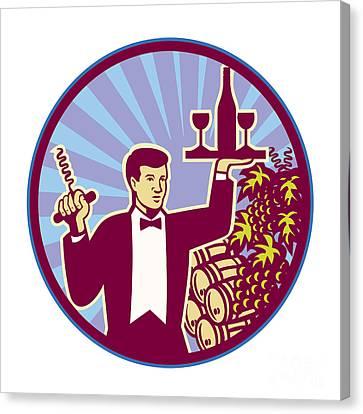 Grape Vine Canvas Print - Waiter Serving Wine Glass Bottle Retro by Aloysius Patrimonio