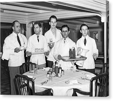 Waiters On Ss President Monroe. Canvas Print by Underwood Archives
