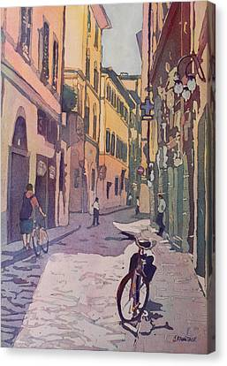 Messenger Canvas Print - Waiting Bike by Jenny Armitage