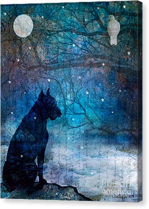 Waiting By The Night River Canvas Print by Judy Wood