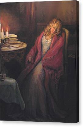 Canvas Print featuring the painting Waiting by Donna Tucker