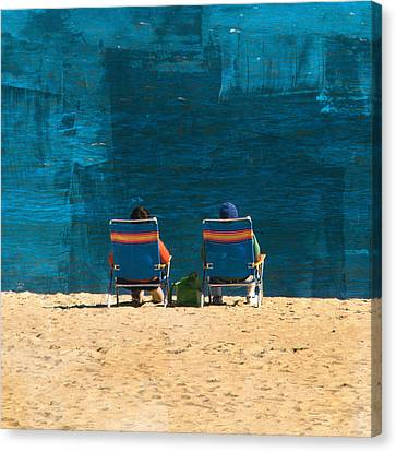 Beach Chair Canvas Print - Waiting For A Dolphin by Trish Tritz