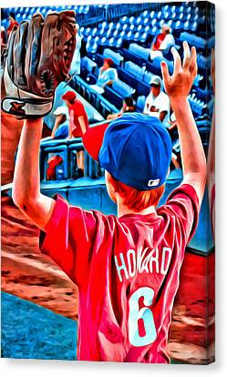 Waiting For A Foul Ball Canvas Print by Alice Gipson