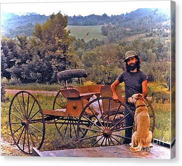 Waiting For A Lift On The Old Buckboard Canvas Print by Patricia Keller