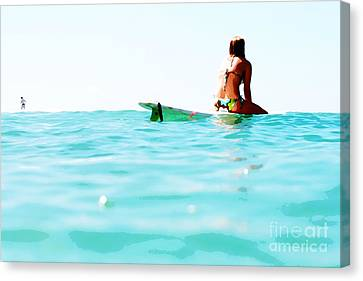 Waiting For A Wave Canvas Print by Lifestyle Photos By Tara