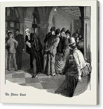Waiting For Admission To The Divorce Court 1889 Canvas Print by Litz Collection