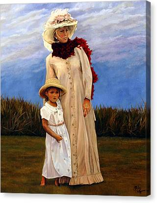 Canvas Print featuring the painting Waiting For Dad's Return by Rick Fitzsimons