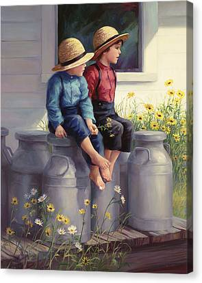Amish Canvas Print - Waiting For Mama by Laurie Hein
