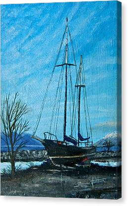 Canvas Print featuring the painting Waiting For Springtime. by Bonnie Heather