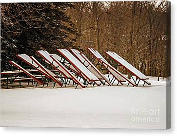 Waiting For Summer - Picnic Tables Canvas Print by Mary Machare