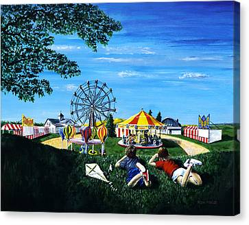 Canvas Print featuring the painting Waiting For The Fair by Ron Haist
