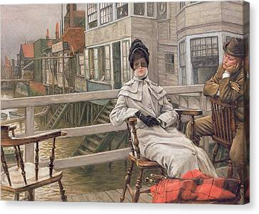 Waiting For The Ferry Canvas Print by James Jacques Joseph Tissot