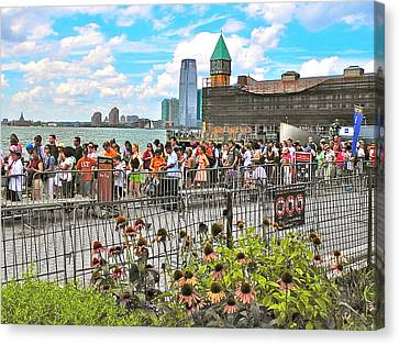 Waiting For The Ferry In Battery Park In New York City-ny Canvas Print by Ruth Hager