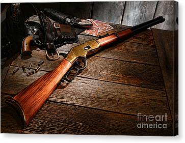 Canvas Print featuring the photograph Waiting For The Gunfight by Olivier Le Queinec
