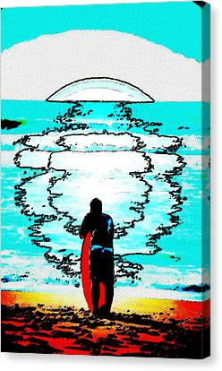 Canvas Print featuring the mixed media The Wave by Lisa McKinney