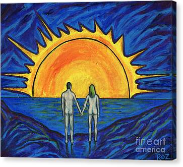 Canvas Print featuring the painting Waiting For The Sun by Roz Abellera Art