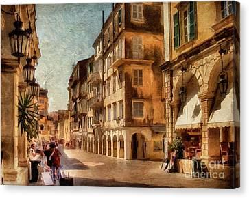 City Streets Canvas Print - Waiting For The Tourists Painterly by Lois Bryan