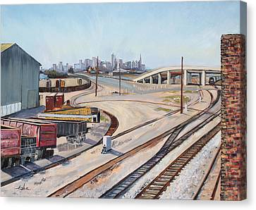 Canvas Print featuring the painting Waiting For The Train by Asha Carolyn Young