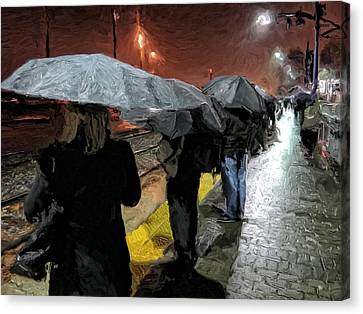 Waiting For The Train Canvas Print by Michael Pickett