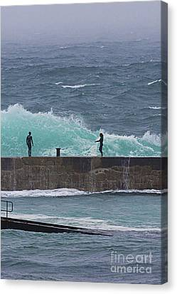 Sennen Cove Canvas Print - Waiting For The Wave by Terri Waters