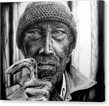 Canvas Print featuring the drawing Man With Cane by Geni Gorani