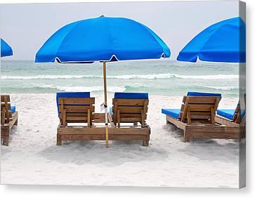 Canvas Print featuring the photograph Panama City Beach Florida Empty Chairs by Vizual Studio