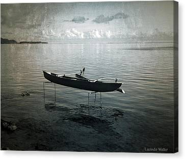 Canvas Print featuring the photograph Waiting In Blue by Lucinda Walter