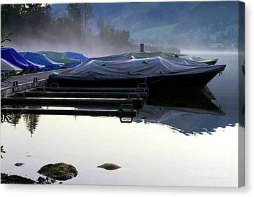 Canvas Print featuring the photograph Waiting In Morning Fog by Charles Lupica