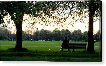 Waiting In The Bench Canvas Print by Alex Rodriguez