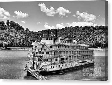 Waiting On The Levee Bw Canvas Print by Mel Steinhauer