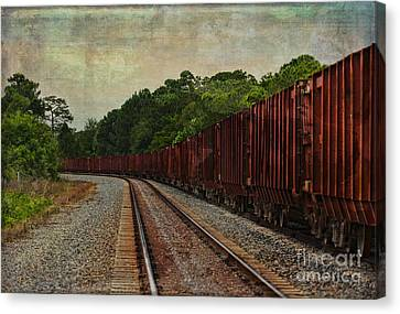Waiting On The Tracks Canvas Print by Deborah Benoit