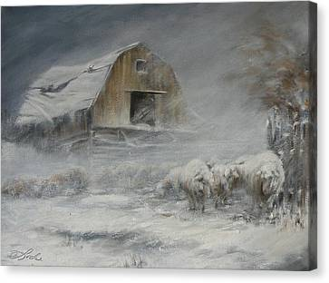 Barn Storm Canvas Print - Waiting Out The Storm by Mia DeLode