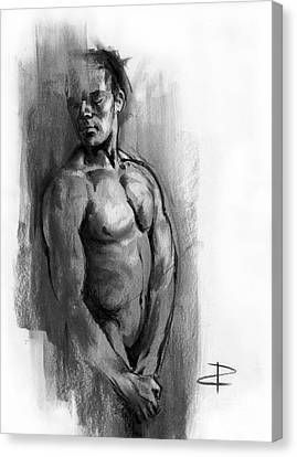 Canvas Print featuring the drawing Waiting by Paul Davenport